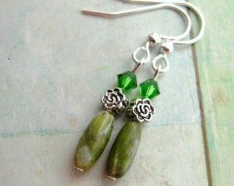 Connemara Marble Earrings with Swarovski Crystal. Irish Rose