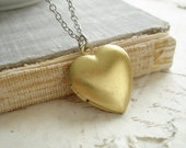 Heart Locket Necklace. Vintage Brass Locket Necklace. Mixed Metal Jewelry. Simple Everyday Layering Necklace. Romantic Valentine's Day Gift.