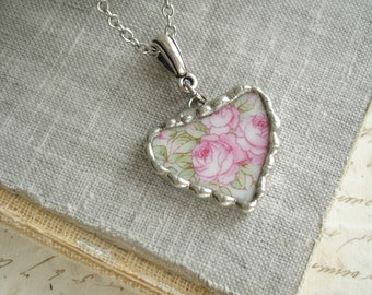 Broken China Heart Necklace. Rose Necklace. Broken China Jewelry. Vintage Heart Pendant. Romantic Layering Necklace. Bridesmaids Gifts.