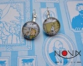 Earrings -I'll show you my stamp collection...- Tintin, Dupond and Dupont- Postage Stamp Earrings