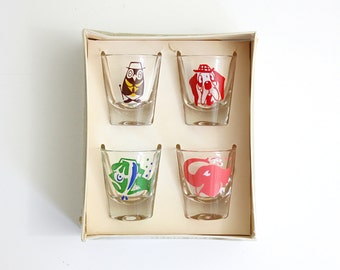 Vintage Kitschy Animals Shot Glasses by Federal Glass / Mid Century 'Morning After' Rumpus Set / Kitschy Mid Centuy Barware - Original Box