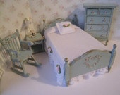 RESERVED for MIMI,  Half paymentDollhouse bedroom, single, bedroom , Hand Made bedroom , duck egg blue twelfth scale