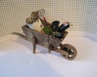 Dollhouse Country wheelbarrow , wheelbarrow, garden barrow,garden accessories, tools,, twelfth scale, dollhouse miniature