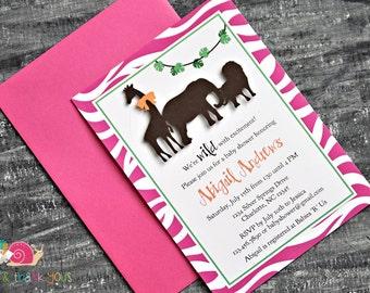 Safari Animals Invitations · A6 FLAT · Fuchsia Green and Orange · Animal Parade   Jungle   Birthday Party   Zebra