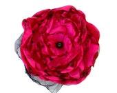 Fuchsia Flower Accessory, Valentine's Wedding, bridal hair flower, bridal sash