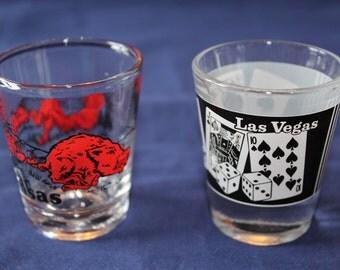 Vintage Souvenir Shot Glasses.  One for Arkansas and One for Las Vegas
