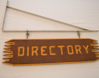 Vintage DIRECTORY large WOOD sign with metal bracket cabin advertising