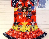 SUPERHEROS - a dress made out of authentic tshirt super cool funky recycled upcycled  pieced  size 6