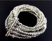 End Of Summer Sale Silver Pyrite Multi Strand Cuff Bracelet