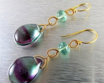 25% Off Summer Sale Fluorite and Gold Filled Wire Wrapped Earrings