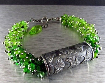 25% Off Summer Sale Anne Choi Gingko Bead With Chrome Diopside, Peridot, Green Tourmaline And Green Jade