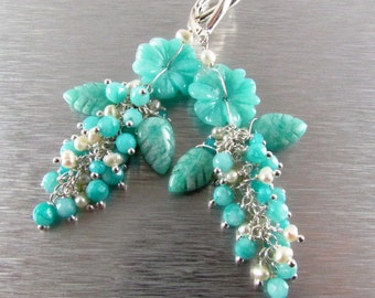 Carved Amazonite Flower and Leaves Cluster Earrings