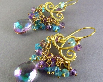 BIGGEST SALE EVER Mystic Quartz, Pink Amethyst and Apatite Chandelier Earrings, Exotic, Boho