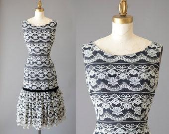 Sugar Kane Dress | 1950s lace cocktail dress | 50s black white party dress