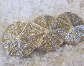 vintage barrette beautiful silver tone triple sand dollars, beach bride