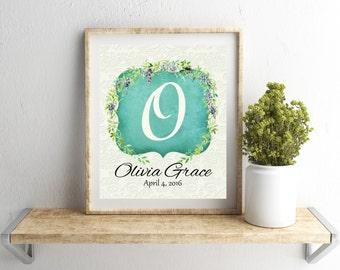 Nursery Decor, Nursery Letter Art, Nursery Monogram, Baby Girl Nursery Print, Baby Room Art, Floral Nursery, Custom Initial Letter Art
