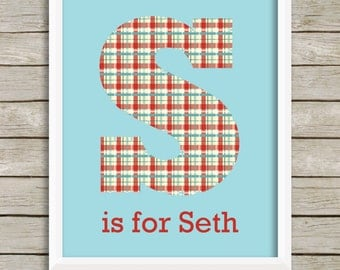 Personalized Nursery Wall Art, Baby Boy Nursery, Nursery Decor, Personalized Baby, Kids Wall Art, Nursery Monogram, Blue Red Nursery Art