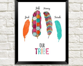 Personalized Our Tribe Print Entrance Wall Art Tribal Home Decor Feather Print