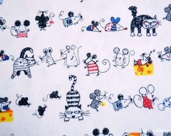 Kawaii Japanese Fabric - Cats & Rattus on Off-White - Half Yard (ta20160427)