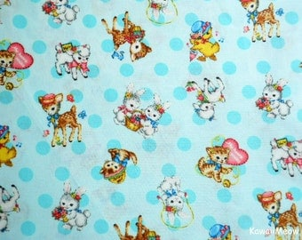Japanese Fabric - QUILT GATE - Dear Little World - Cute Animals on Lime - Half Yard (ha160804)