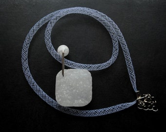 Pendant - Innocence II - druzy agate, modern, unique, art to wear, ooak, contemporary - by Schneider Gallery