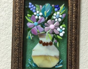 Matisse Style Fused Glass Flowers Shabby Chic Framed Art Plaque