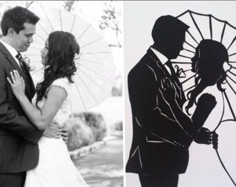 First Anniversary Paper Gift Custom Silhouette Wedding Portrait