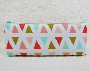 Long Zipper Pouch, Pencil Case, Cosmetic Pouch.. Triangles in Mint and Coral