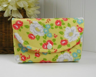 Snap Pouch, Large Snap Pouch, Cosmetic Pouch ... Happy Go Lucky Garden in Yellow