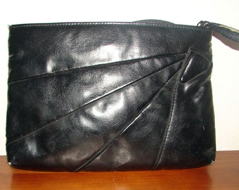 Small Black Faux Leather Shoulder Bag / Convertible Clutch