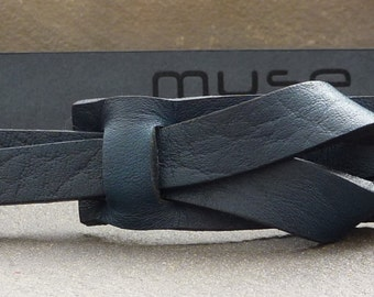 Navy Skinny Leather Belt  by Muse 1 inch,30-32, FREE Shipping