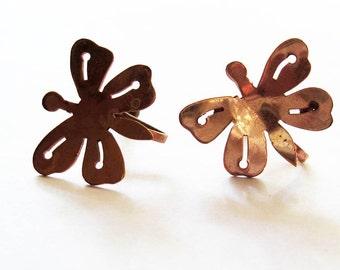 Vintage Copper Butterfly  Earrings Scew Backs