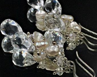 Clear Quartz Dangle Earring Sterling Silver Wire Wrap White Keishi Pearl Cluster Clear Gemstone Wedding Earring Simple Bridal Earring