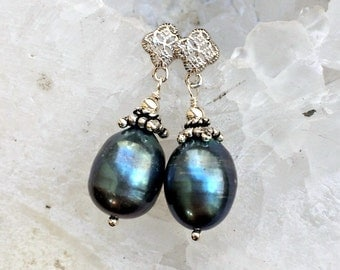 Black Baroque Pearl Earrings Sterling Silver Post Earrings Black Pearl Drop Earrings Black Peacock Baroque Pearl Wedding Jewelry