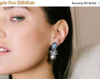 CUPID SALE Black Opal Earring, Australian Lightning Ridge Opal, Diamond Bezel Look, Silver Grey Baroque Pearl Post Earrings, October Birthst