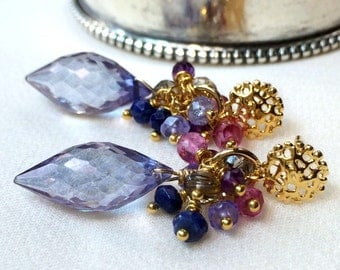 Blue Gemstone Cluster Earrings Denim Quartz Multicolor Wire Wrap Gold Post Earring Colorful Gemstone Post Earrings Amethyst Tanzanite