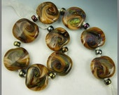 a set of 9 squeezed tab beads in a subtle swirled silverglass handmade lampwork glass - Delicate Marble