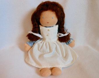 Waldorf Inspired Doll, Hand Sewn, Brown Braids, Cotton Print Dress, Cotton Apron, Stuffed Doll, OOAK, Girl Doll