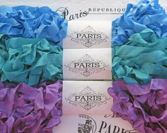 Seam Binding Ribbon,Scrunched Ribbon,Shabby Crinkled Ribbon, Rayon,Blue,Emerald Green,Purple, French Vintage,  Scrapbooking,  Costume Closet