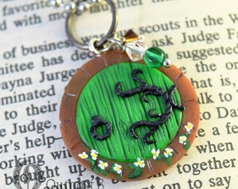 Tiny Green Fantasy Door Necklace