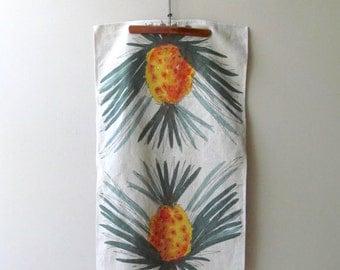 vera Neumann pineapple tea towel vintage linen ladybug signature