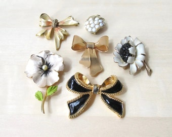 enamel brooch collection vintage pins - signed HAR flower brooch KJL for Avon bow necklace enhancer