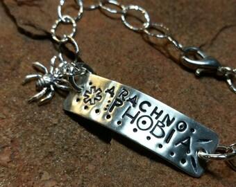 ARACHNOPHOBIA Sterling Silver Medical ID Alert Bracelet - Handmade
