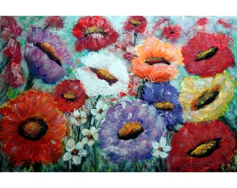 Original Floral Painting Abstract Modern Impressionist Art Direct from Artist Large Canvas
