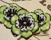 Green, White and Black Polka-Dotted Flowers-Set of 3