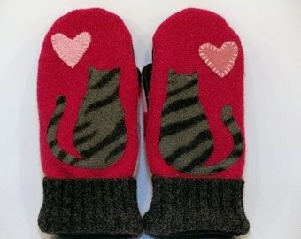 Cat Mittens from Felted Sweater Bright Pink  Grey and Black Sriped Cat Applique Leather Palm Fleece Lining Eco Friendly Size S/M