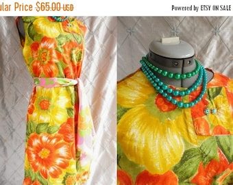 ON SALE 60s Dress // Vintage 1960s Orange Yellow and Green Floral Dress Size L Xl