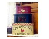 Red Rooster Farmhouse Shaker Boxes 3 pc. set