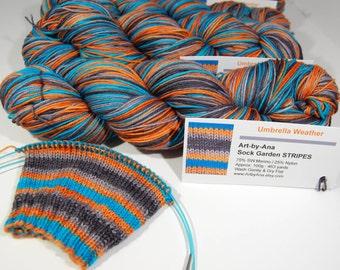 "Sock Garden STRIPES - Self-striping Sock Yarn -  ""Umbrella Weather"""
