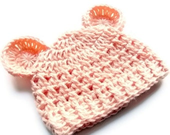 ON SALE Baby Girl Hat, Crochet Baby Girl Hat,  Crochet Baby Hat, Crochet Beanie Hat with Ears, Teddy Bear Hat, Peach, 0-3 months, MADE To Or